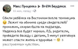 В Запорожской области ребенок попал под колеса автомобиля