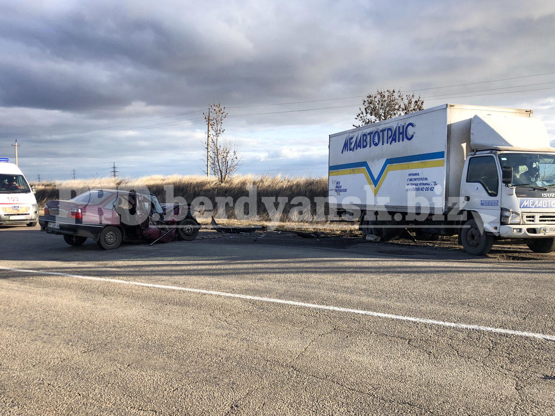 В Запорожской области грузовик влетел в легковушку, есть пострадавшие (Фото)
