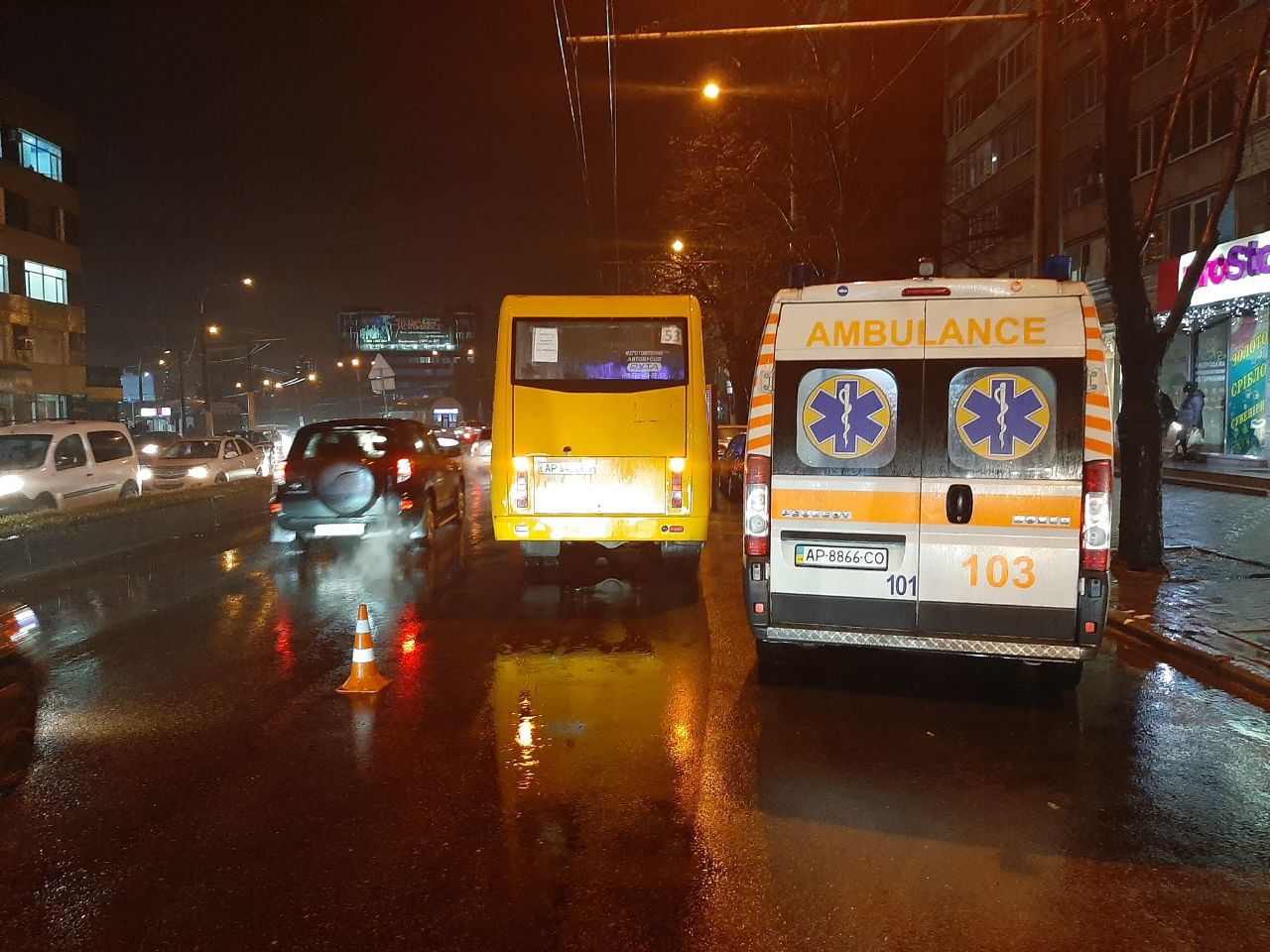 В Запорожье на пешеходном переходе пассажирский автобус сбил девушку (Фото)