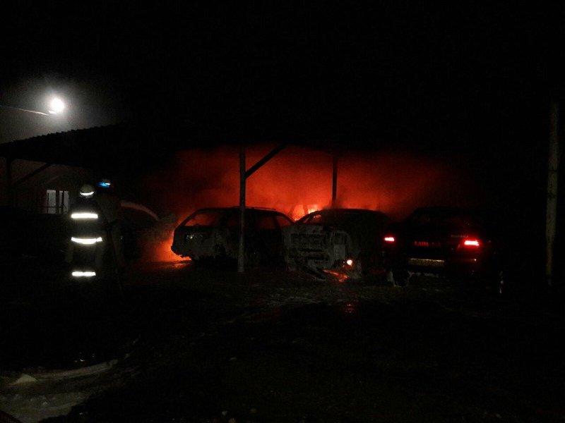 Под Запорожьем горели девять автомобилей