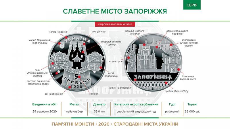 В Украине выпустили памятную монету к юбилею Запорожья
