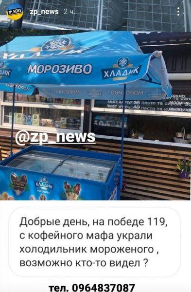 В Запорожье украли целый холодильник мороженого
